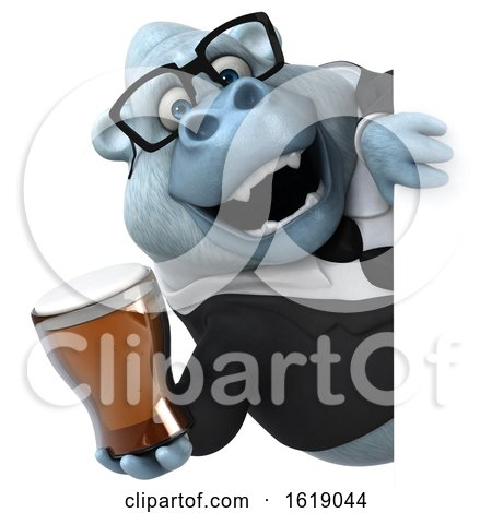 3d White Business Monkey Yeti, on a White Background by Julos