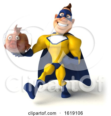 3d Buff White Male Yellow and Blue Super Hero, on a White Background by Julos