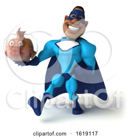 3d Buff Black Male Blue Super Hero, on a White Background by Julos