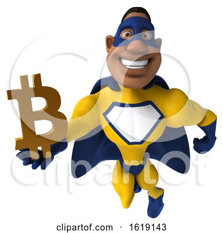 3d Buff Black Male Yellow and Blue Super Hero, on a White Background by Julos