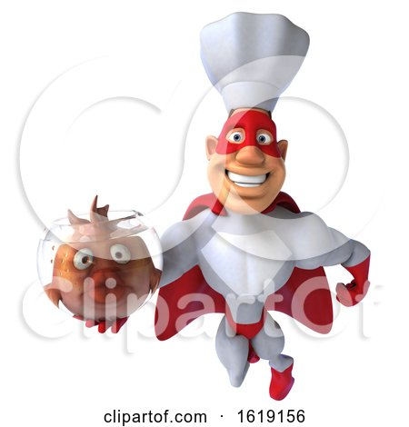 3d White Male Super Chef, on a White Background by Julos