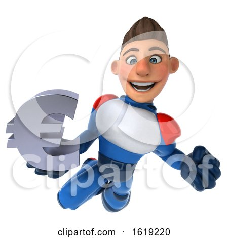 3d White Male Super Hero in a White Blue and Red Suit, on a White Background by Julos