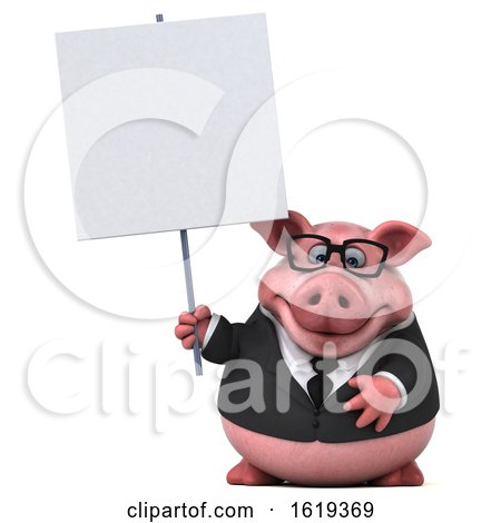 3d Chubby Business Pig, on a White Background by Julos