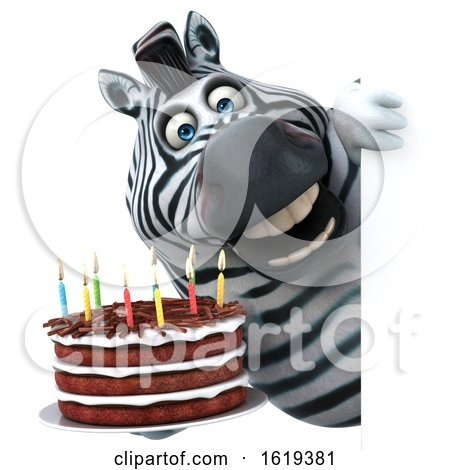 3d Zebra, on a White Background by Julos