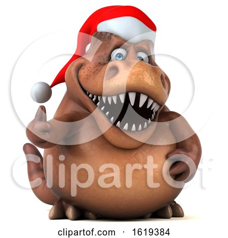 3d Brown Christmas T Rex Dinosaur, on a White Background by Julos