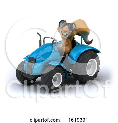 3d Squirrel Operating a Tractor, on a White Background by Julos