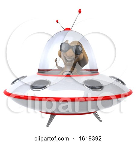 3d Squirrel Flying a Ufo, on a White Background by Julos
