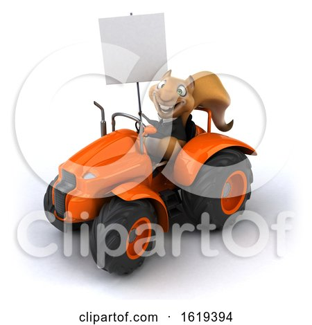 3d Business Squirrel Operating a Tractor, on a White Background by Julos