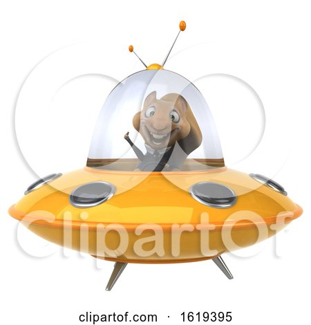 3d Business Squirrel Flying a Ufo, on a White Background by Julos
