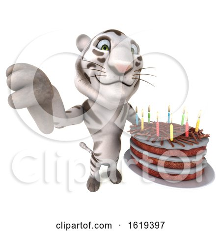 3d White Tiger Holding a Birthday Cake, on a White Background by Julos