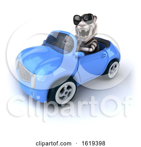 3d White Tiger Driving a Blue Convertible Car, on a White Background by Julos