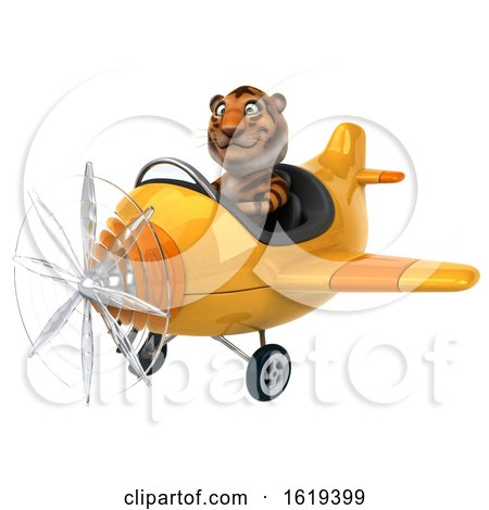 3d Tiger Flying a Plane, on a White Background by Julos