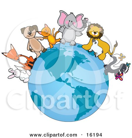 White Rabbit, Fox, Brown Dog, Orange Cat, Elephant With A Mouse On Its Trunk, Lion Talking To A Sheep, And Skunk Playing With Butterflies Standing On The Earth With A Faded Peace Symbol, Standing For Peace On Earth Clipart Illustration Image by Maria Bell