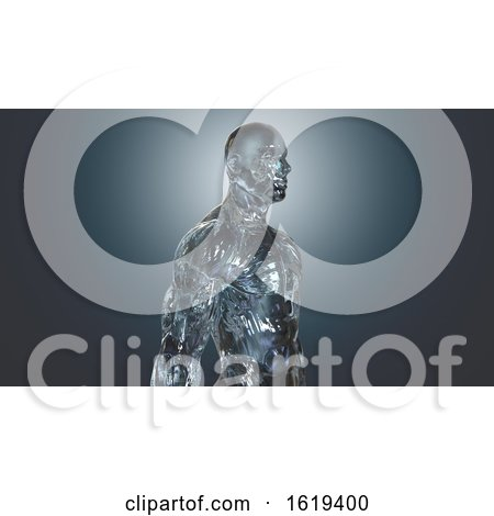 3d Glass or Ice Man, on a Blue Background by Julos