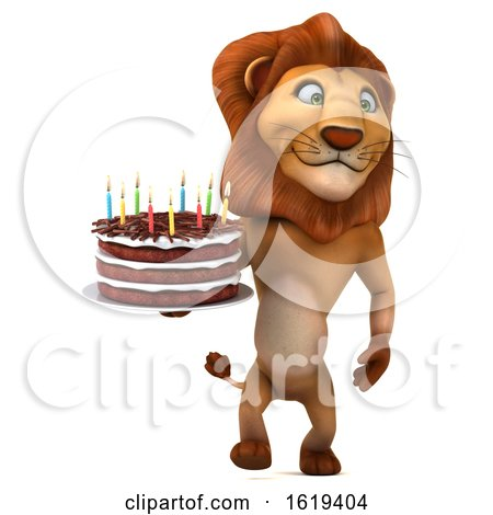 3d Lion Holding a Birthday Cake, on a White Background by Julos