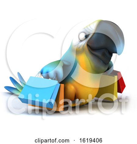 3d Blue and Yellow Macaw Parrot, on a White Background by Julos