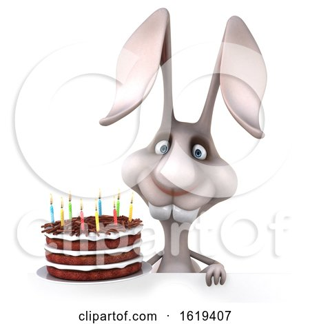 3d Bunny Rabbit Holding a Birthday Cake, on a White Background by Julos