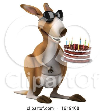 3d Kangaroo Holding a Birthday Cake, on a White Background by Julos