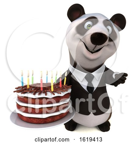 3d Business Panda Holding a Birthday Cake, on a White Background by Julos