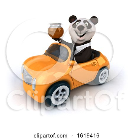 3d Business Panda Driving a Convertible Car, on a White Background by Julos