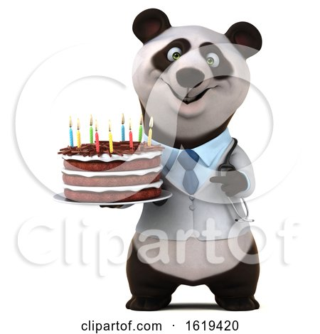 3d Doctor Panda Holding a Birthday Cake, on a White Background by Julos