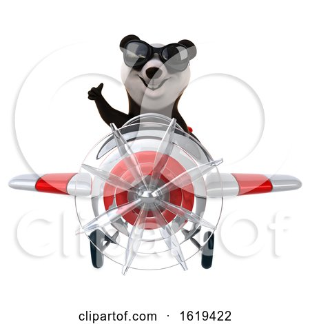 3d Panda Flying a Plane, on a White Background by Julos