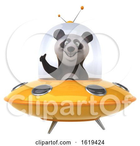 3d Panda Flying a Ufo, on a White Background by Julos