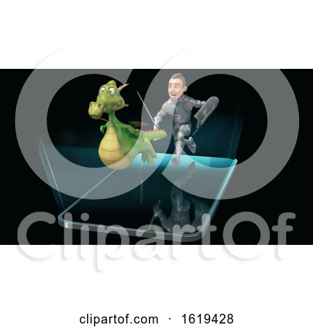 3d Knight Chasing a Dragon over a Smart Phone Screen by Julos