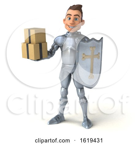 3d Caucasian Male Armored Knight, on a White Background by Julos