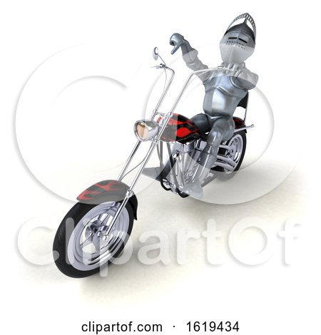 3d Armored Knight Riding a Chopper Motorcycle, on a White Background by Julos