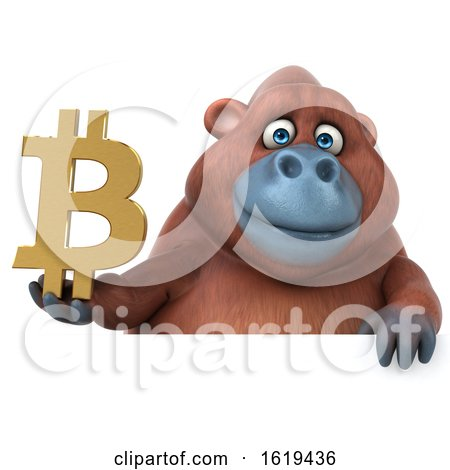 3d Orangutan Monkey Holding a Bitcoin Symbol, on a White Background by Julos