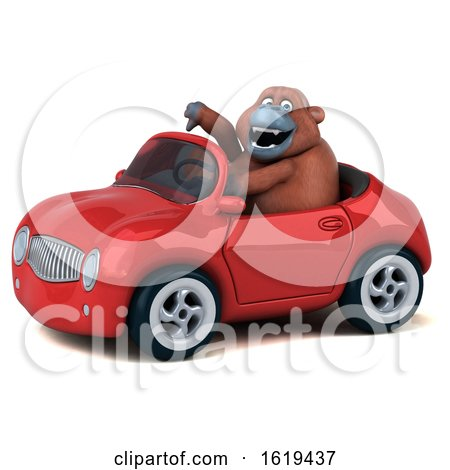3d Orangutan Monkey Driving a Convertible, on a White Background by Julos