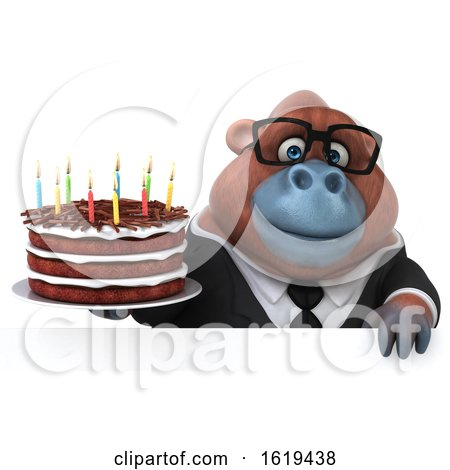 3d Business Orangutan Monkey Holding a Birthday Cake, on a White Background by Julos