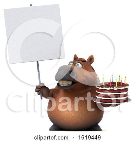 3d Chubby Brown Horse Holding a Birthday Cake, on a White Background by Julos