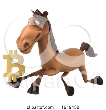 3d Brown Horse, on a White Background by Julos