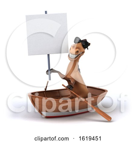 3d Brown Horse Rowing a Boat, on a White Background by Julos