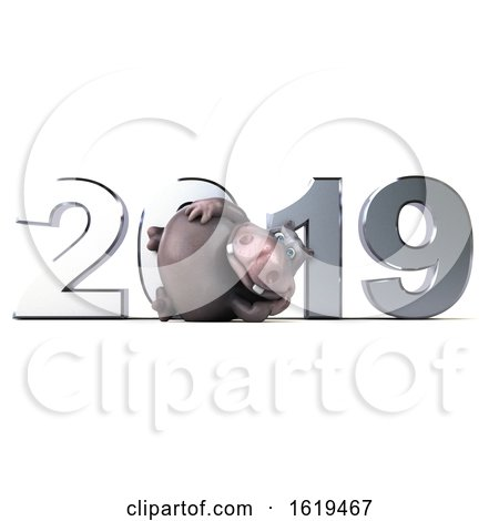 3d Hippo, on a White Background by Julos