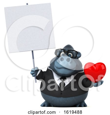 3d Business Gorilla, on a White Background by Julos