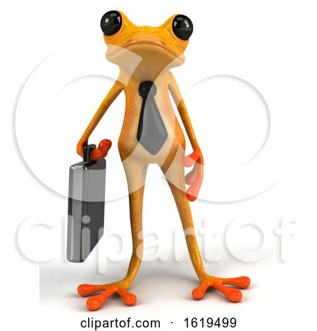 3d Yellow Business Frog, on a White Background by Julos