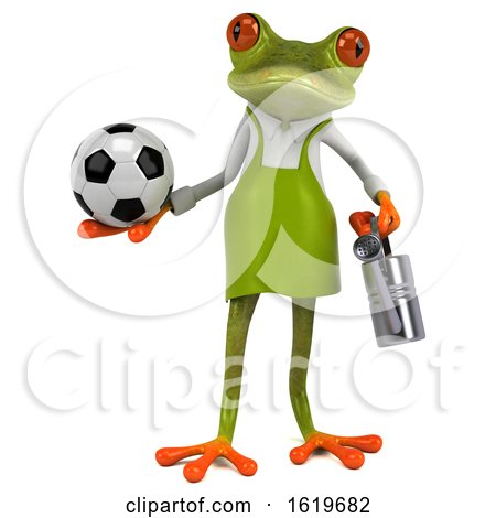 3d Green Gardener Frog, on a White Background by Julos