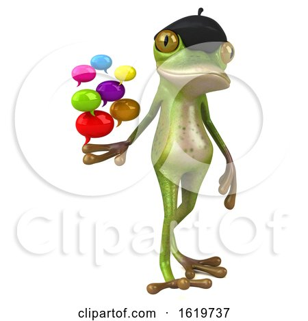 3d French Frog, on a White Background by Julos