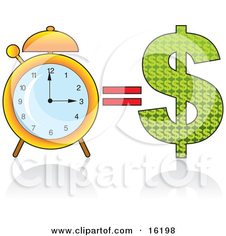 Golden Alarm Clock by a Dollar Sign, Time Equals Money Clipart Illustration Image by Maria Bell
