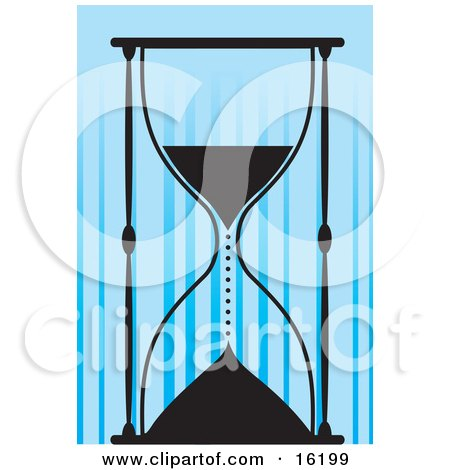 Silhouetted Sandglass Timer Dripping Sand Into The Lower Compartment, Symbolizing Running Out Of Time Clipart Illustration Image by Maria Bell