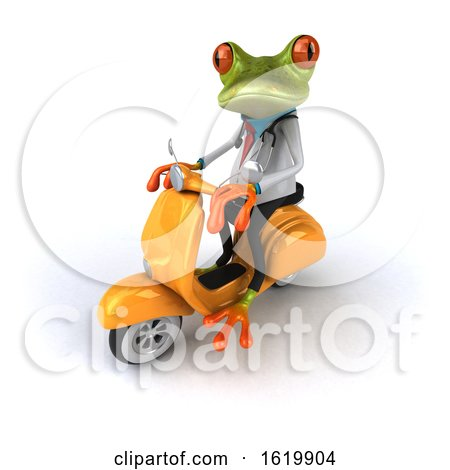 3d Green Doctor Frog, on a White Background by Julos