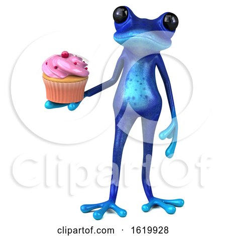 3d Blue Frog, on a White Background by Julos