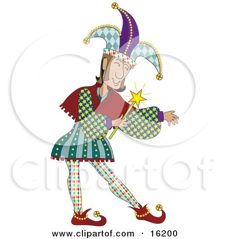 Male Jester In Colorful Costume, Holding A Magic Wand Clipart Illustration Image by Maria Bell