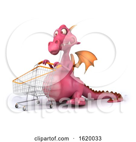 3d Pink Dragon, on a White Background by Julos