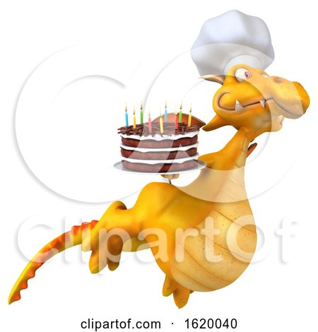 3d Yellow Dragon, on a White Background by Julos