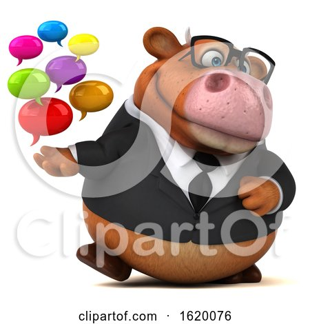 3d Brown Business Cow, on a White Background by Julos