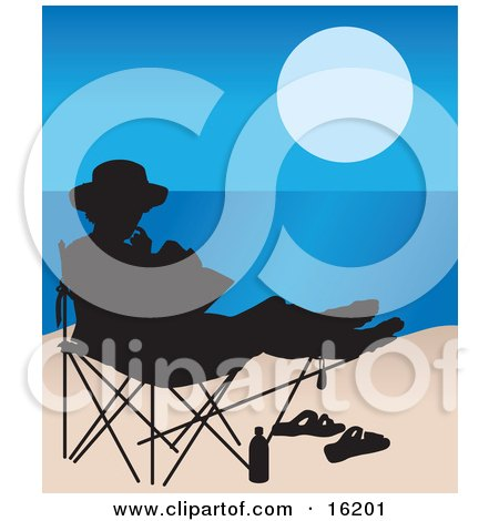 Woman Seated In A Chair On The Beach, Silhouetted With Her Sandals And Water Bottle In The Sand While Reading A Book With A View Of The Ocean Or Blue Lake Clipart Illustration Image by Maria Bell